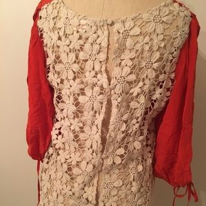 Lace-back silk top